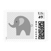 Gender neutral grey elephant baby shower stamps