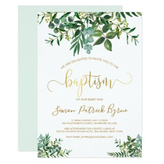 Gender neutral modern green & gold baptism invitation