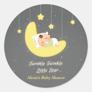 Gender Neutral Twinkle Little Star Baby Shower Classic Round Sticker