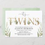 Gender neutral twins baby shower greenery invitation