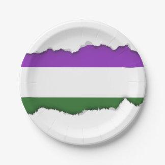 Gender Queer Pride Flag Paper Plate