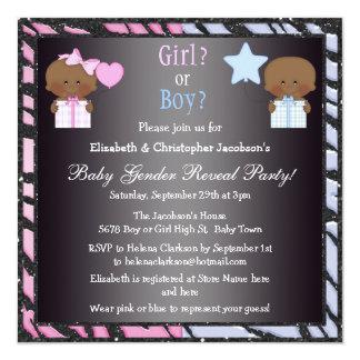 Gender Reveal African American Babies & Balloons Card