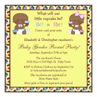 Gender Reveal African American Babies & Cupcakes Card