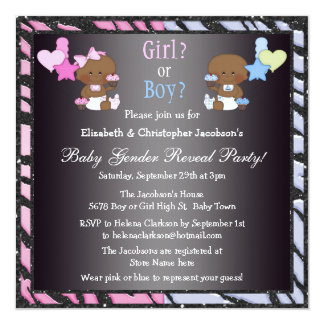 Gender Reveal African American Babies & Cupcakes 5.25x5.25 Square Paper Invitation Card