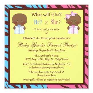 Gender Reveal African American Babies & Gift Boxes Card