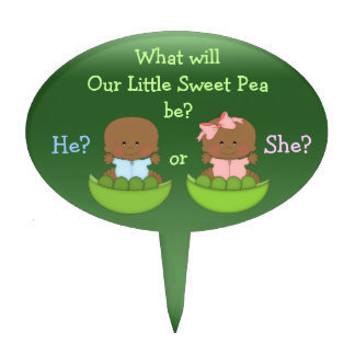 Gender Reveal African American Babies in Pea Pods Oval Cake Pick