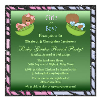 Gender Reveal African American Babies in Pea Pods Card