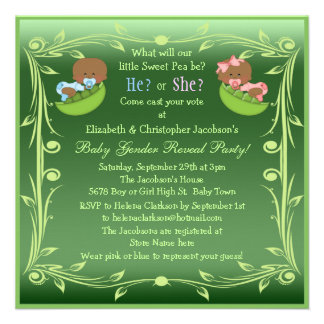 Gender Reveal African American Babies in Pea Pods Personalized Invites