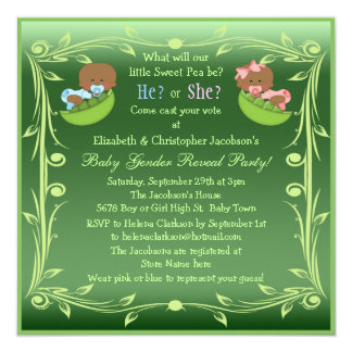 Gender Reveal African American Babies in Pea Pods 5.25x5.25 Square Paper Invitation Card