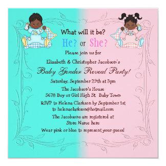 Gender Reveal African American Babies Pink & Blue Card
