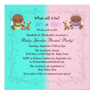 Gender Reveal African American Babies Pink & Blue Invites