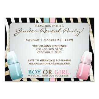 "Gender Reveal Baby Bottle Boy or Girl  Invitations 5"" X 7"" Invitation Card"