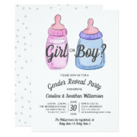 Gender Reveal Baby Party Invitation Girl or Boy