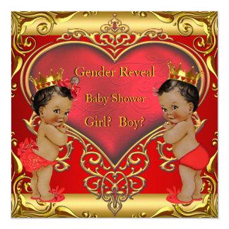 Gender Reveal Baby Shower Boy Girl Red Ethnic Card