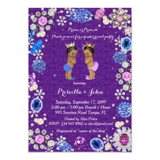 Gender Reveal Baby Shower, damask, purple Card
