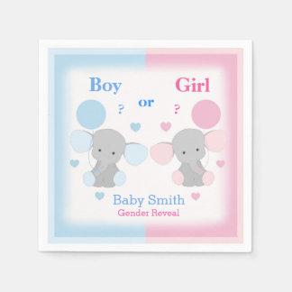 Gender Reveal Baby Shower Elephant Sprinkle Party Paper Napkin