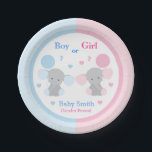 "Gender Reveal Baby Shower Elephant Sprinkle Party Paper Plate<br><div class=""desc"">Gender reveal baby shower paper party plate featuring a pink and blue elephant sitting holding a balloon accented with little matching hearts. You may change the text to your preference. Add other matching party,  bedding,  and home decor.</div>"