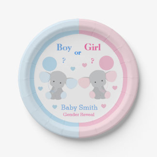 Gender Reveal Baby Shower Elephant Sprinkle Party Paper Plate