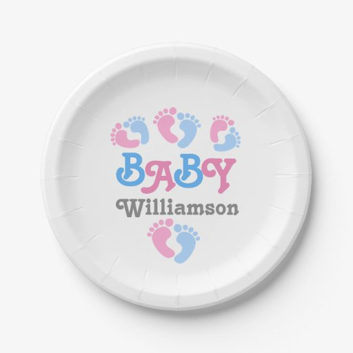 Gender Reveal Baby Shower Feet Collection A16B Paper Plate