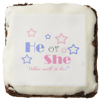 Gender reveal baby shower he or she baby shower chocolate brownie