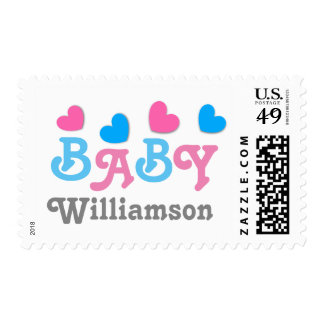 Gender Reveal Baby Shower Hearts Collection A06 Postage Stamp