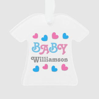 Gender Reveal Baby Shower Hearts Collection A19 Ornament