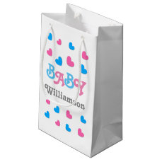 Gender Reveal Baby Shower Hearts Collection A22 Small Gift Bag