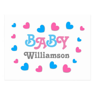 Gender Reveal Baby Shower Hearts Collection A24 Postcard