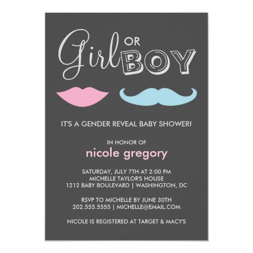 Gender Reveal Baby Shower 5x7 Paper Invitation Card
