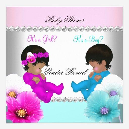 Custom african american gender reveal invites templates babyfavors4u gender reveal baby shower pink teal blue flowers custom invite filmwisefo