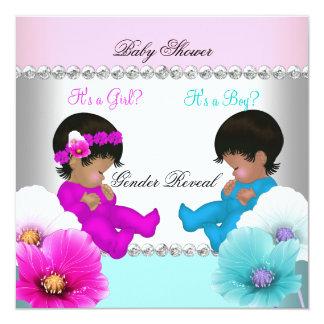 "Gender Reveal Baby Shower Pink Teal Blue Flowers 5.25"" Square Invitation Card"