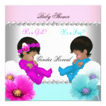 Gender Reveal Baby Shower Pink Teal Blue Flowers 5.25x5.25 Square Paper Invitation Card