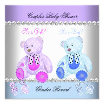Gender Reveal Baby Shower Purple Blue Teddy Bears Card