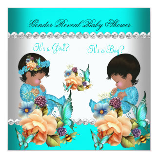 Gender Reveal Baby Shower Teal Blue Flowers Card