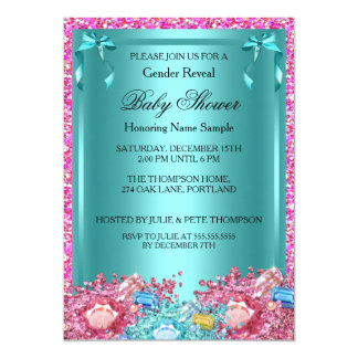 Gender Reveal Baby Shower Teal Pink Crystals 2 Card
