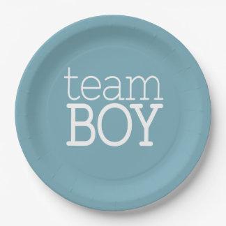 Gender Reveal Baby Shower - Team Blue Boy Paper Plate