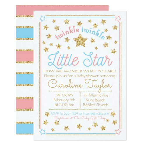 Gender Reveal Baby Shower Twinkle Little Star Invitation