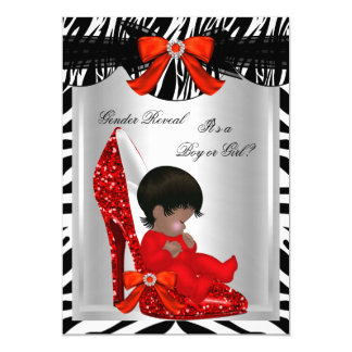 Gender Reveal Baby Shower Zebra Red Baby Shoe 5x7 Paper Invitation Card