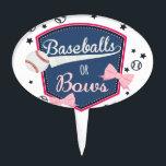 "Gender reveal Baseball or bow Cake Topper<br><div class=""desc"">gender reveal party</div>"