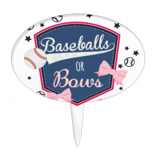 Gender reveal Baseball or bow Cake Topper