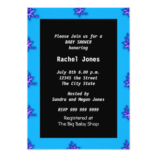 Gender Reveal Blue Black White Baby Shower Party Card