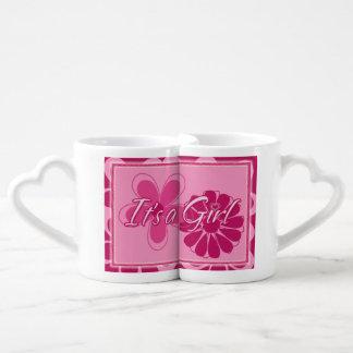 Gender reveal boy girl announcement couples' coffee mug set