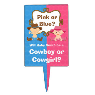 Gender Reveal Cowboy Cowgirl Cake Topper