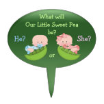 Gender Reveal Cute Cartoon Babies in Pea Pods Oval Cake Picks