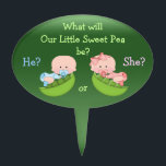 """Gender Reveal Cute Cartoon Babies in Pea Pods Cake Topper<br><div class=""""desc"""">What will our little sweet pea be? Adorable Baby Gender Reveal party Baby Shower cake topper with cute cartoon babies in pea pods on a green background. www.resaleclipart.com Text is fully customizable and design objects can be moved,   re-sized or removed.    I have matching products in my store.</div>"""