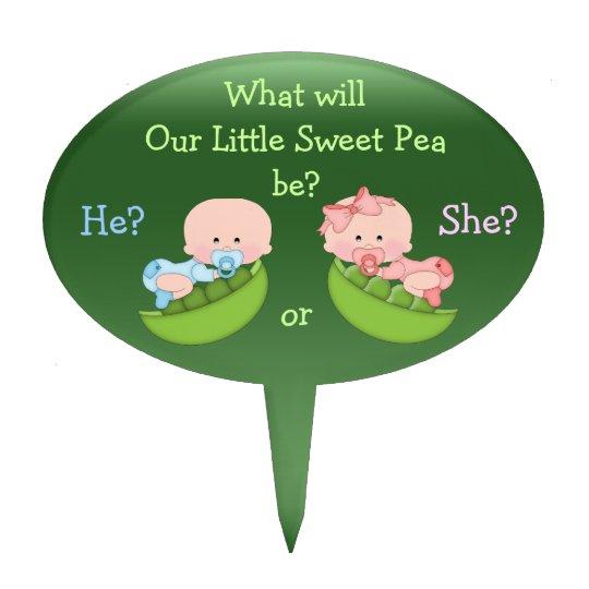 Gender Reveal Cute Cartoon Babies In Pea Pods Cake Topper