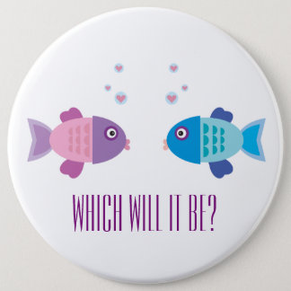 Gender Reveal - Cute Pink and Blue Cartoon  Fish Button