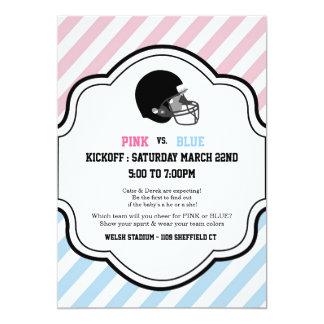 Gender Reveal Football Baby Shower boy girl pink 5x7 Paper Invitation Card