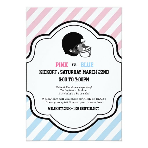 gender reveal football baby shower boy girl pink 5x7 paper invitation