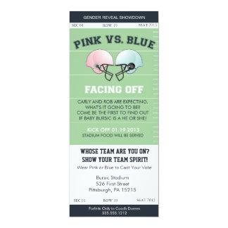 Gender Reveal Football Ticket Baby Shower Invitati 4x9.25 Paper Invitation Card